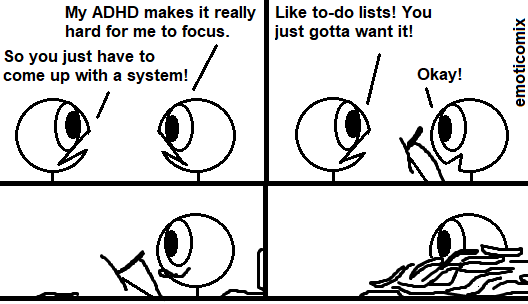 A Comic with 2 stickfigures talking.<br /><br />Righty: My ADHD makes it really hard for me to focus.<br />Lefty: So you just have to come up with a system!<br /><br />Lefty: Like to-do lists! You just gotta want it!<br />Righty: Okay!<br /><br />Righty starts writing. In the next panel there are a lot of lists around him. In the last panel righty is buried in paper.