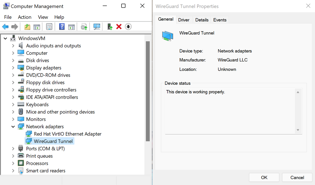 WireGuardNT in device manager